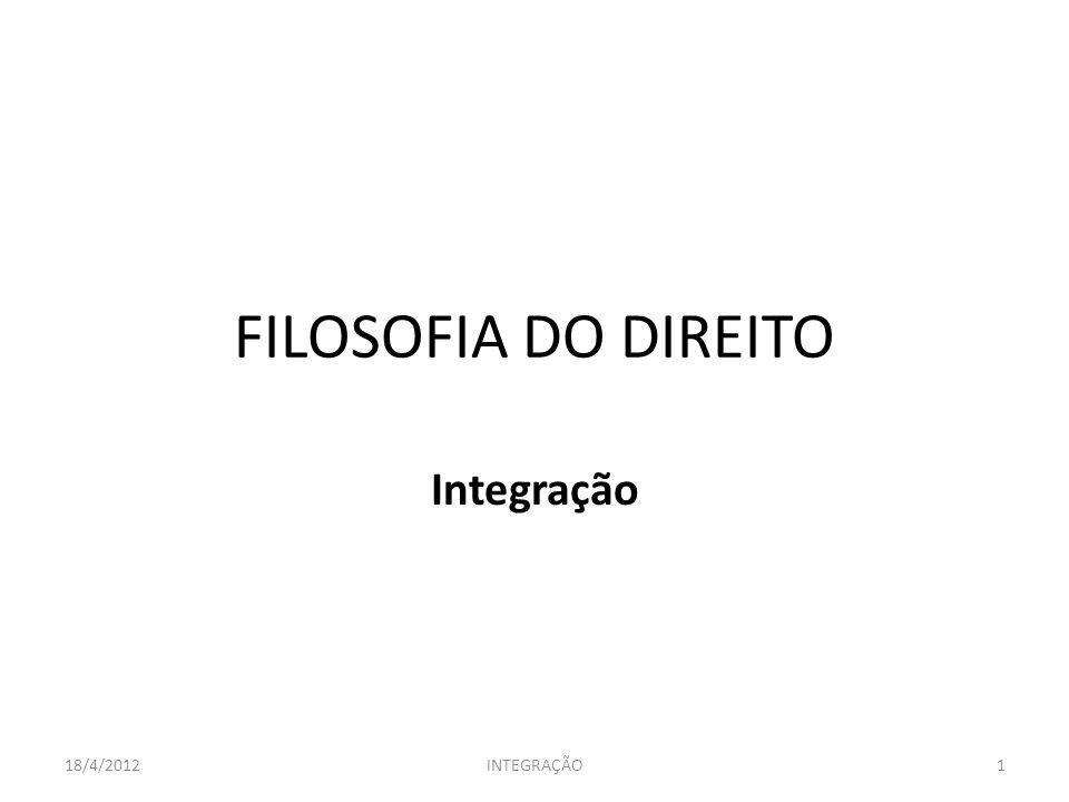 FILOSOFIA DO DIREITO Integração 18/4/2012 INTEGRAÇÃO
