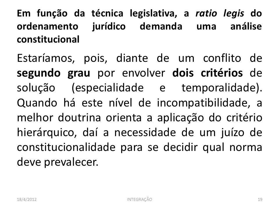 Em função da técnica legislativa, a ratio legis do ordenamento jurídico demanda uma análise constitucional