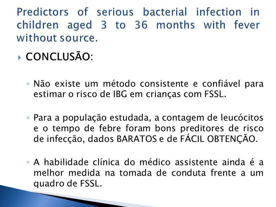 Predictors of serious bacterial infection in children aged 3 to 36 months with fever without source.