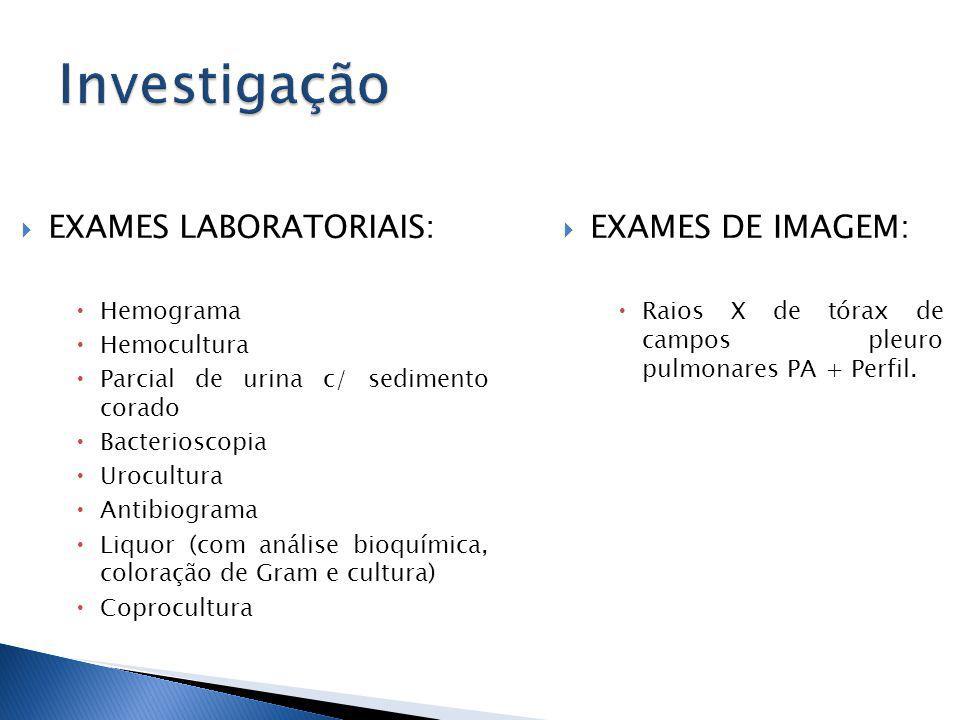 Investigação EXAMES LABORATORIAIS: EXAMES DE IMAGEM: Hemograma