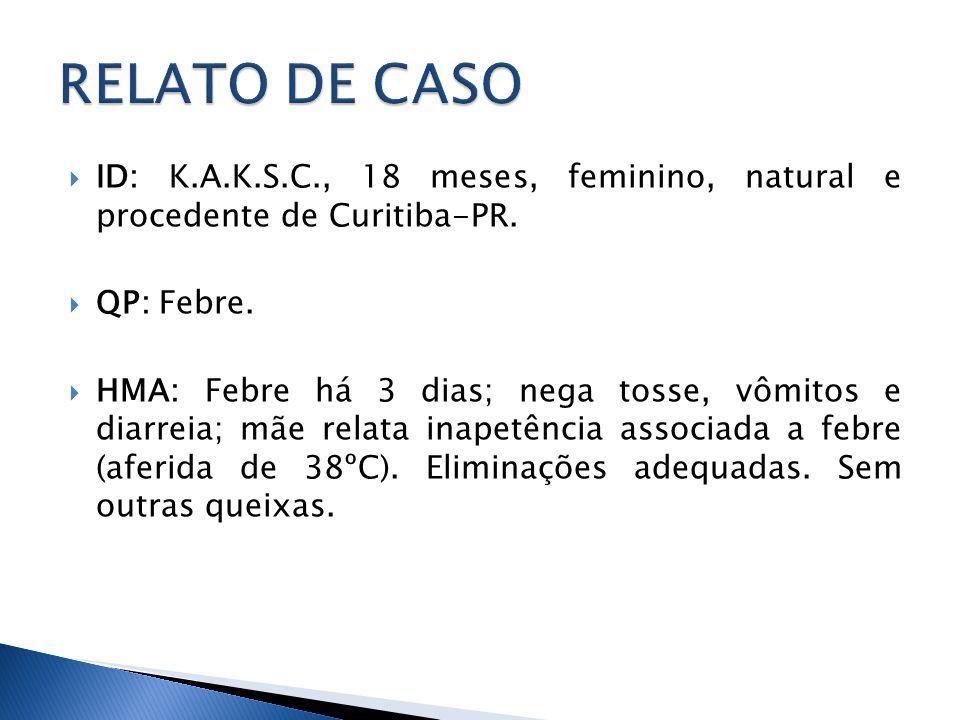 RELATO DE CASO ID: K.A.K.S.C., 18 meses, feminino, natural e procedente de Curitiba-PR. QP: Febre.