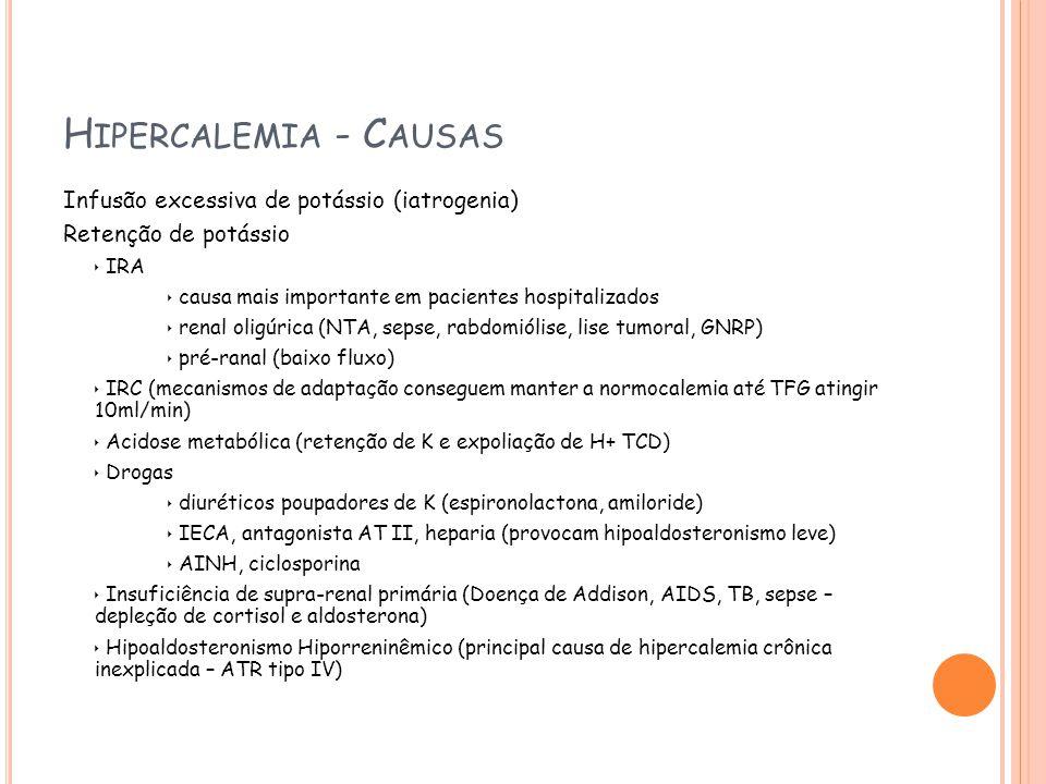 Hipercalemia - Causas Infusão excessiva de potássio (iatrogenia)