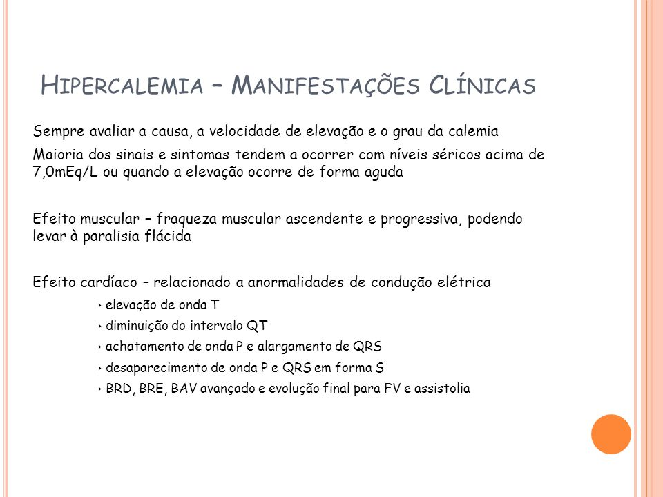 Hipercalemia – Manifestações Clínicas