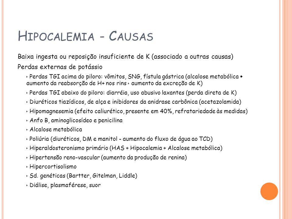 Hipocalemia - Causas Baixa ingesta ou reposição insuficiente de K (associado a outras causas) Perdas externas de potássio.