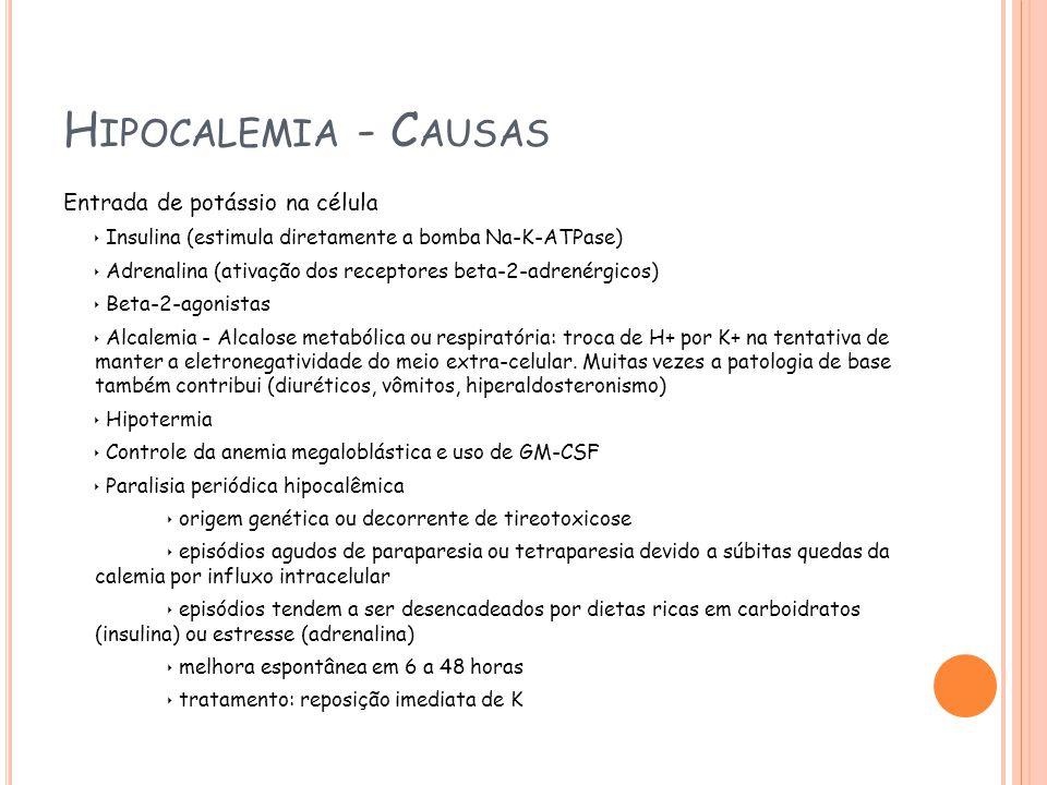 Hipocalemia - Causas Entrada de potássio na célula