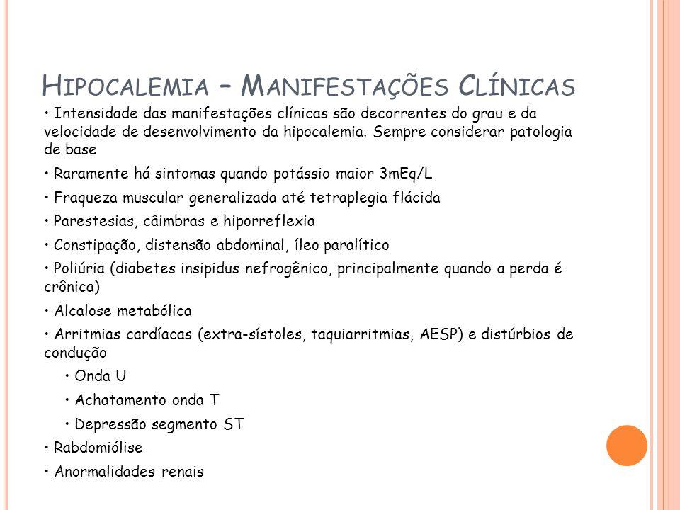 Hipocalemia – Manifestações Clínicas