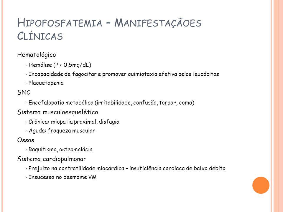 Hipofosfatemia – Manifestaçãoes Clínicas