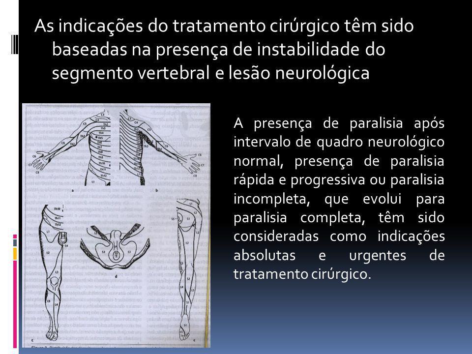 As indicações do tratamento cirúrgico têm sido baseadas na presença de instabilidade do segmento vertebral e lesão neurológica
