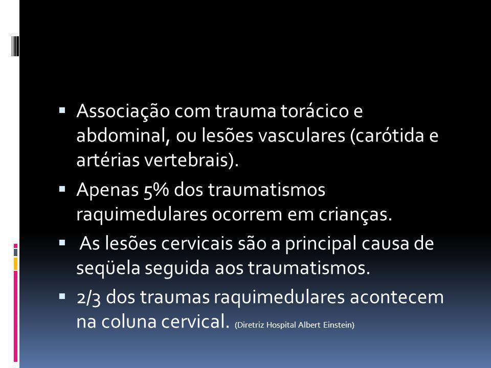Associação com trauma torácico e abdominal, ou lesões vasculares (carótida e artérias vertebrais).