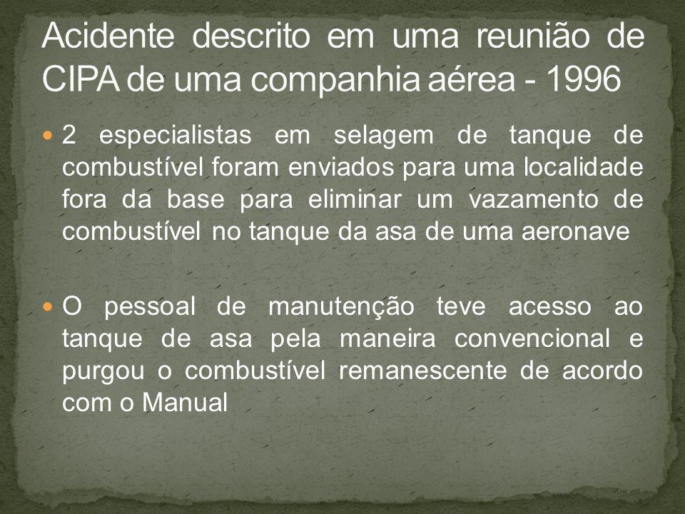 Acidente descrito em uma reunião de CIPA de uma companhia aérea - 1996