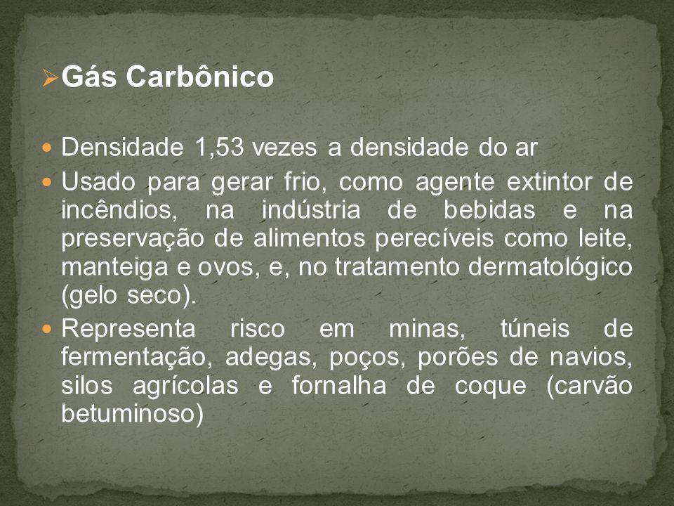 Gás Carbônico Densidade 1,53 vezes a densidade do ar