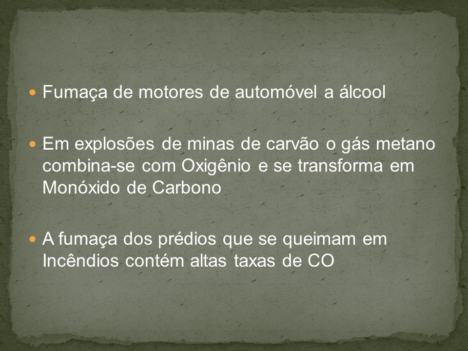 Fumaça de motores de automóvel a álcool