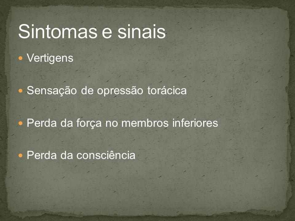 Sintomas e sinais Vertigens Sensação de opressão torácica