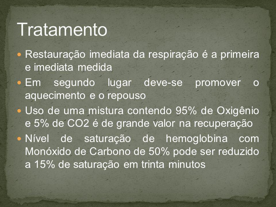 Tratamento Restauração imediata da respiração é a primeira e imediata medida. Em segundo lugar deve-se promover o aquecimento e o repouso.