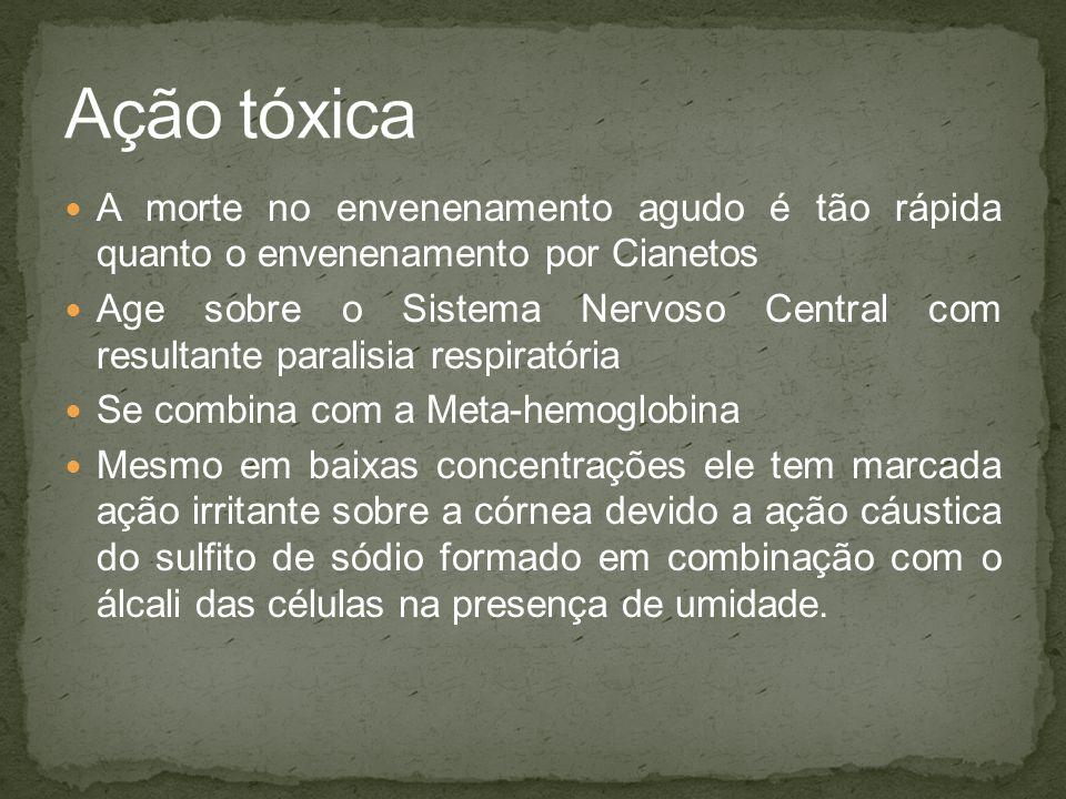 Ação tóxica A morte no envenenamento agudo é tão rápida quanto o envenenamento por Cianetos.