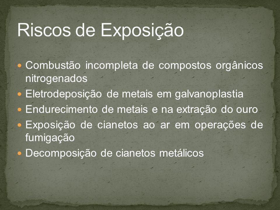 Riscos de Exposição Combustão incompleta de compostos orgânicos nitrogenados. Eletrodeposição de metais em galvanoplastia.