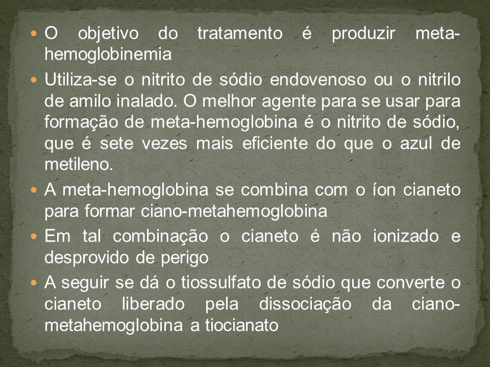 O objetivo do tratamento é produzir meta- hemoglobinemia
