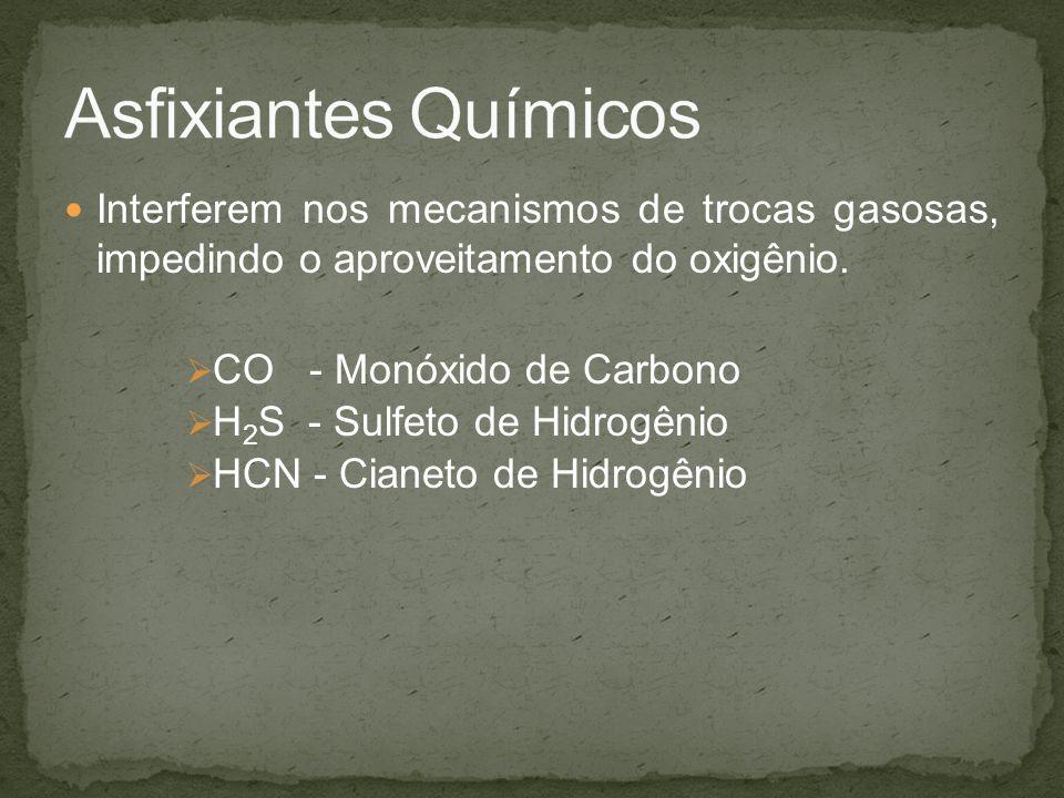 Asfixiantes Químicos Interferem nos mecanismos de trocas gasosas, impedindo o aproveitamento do oxigênio.