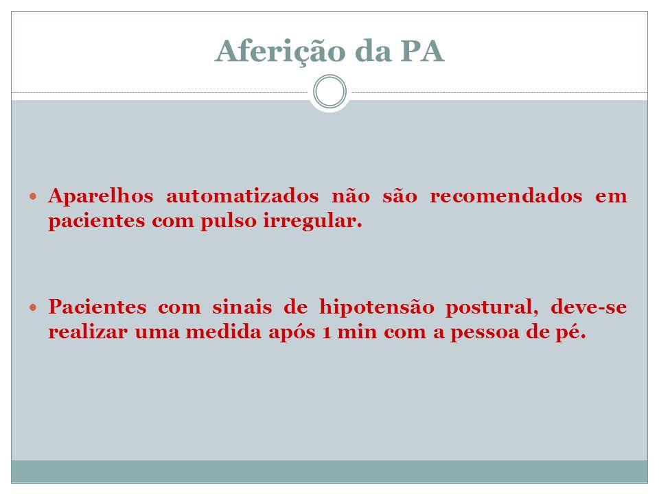 Aferição da PA Aparelhos automatizados não são recomendados em pacientes com pulso irregular.