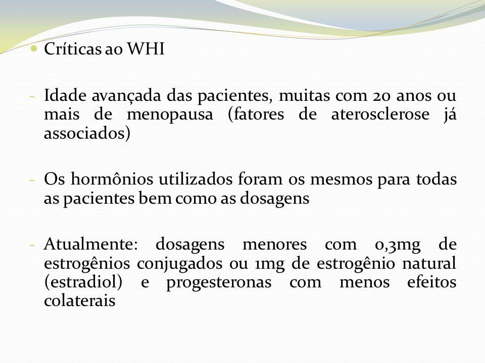 Críticas ao WHI Idade avançada das pacientes, muitas com 20 anos ou mais de menopausa (fatores de aterosclerose já associados)