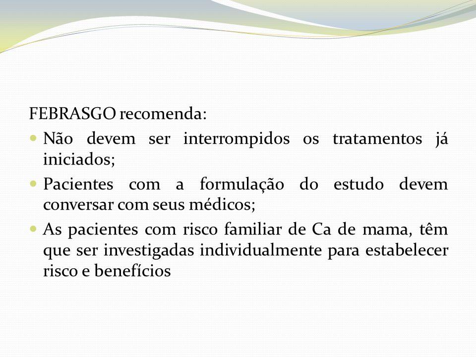 FEBRASGO recomenda: Não devem ser interrompidos os tratamentos já iniciados; Pacientes com a formulação do estudo devem conversar com seus médicos;