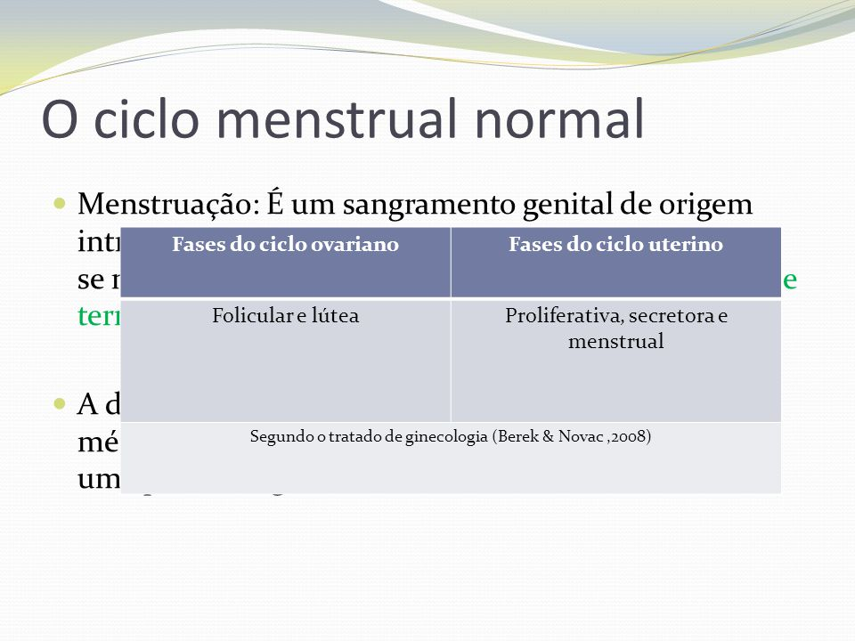 O ciclo menstrual normal