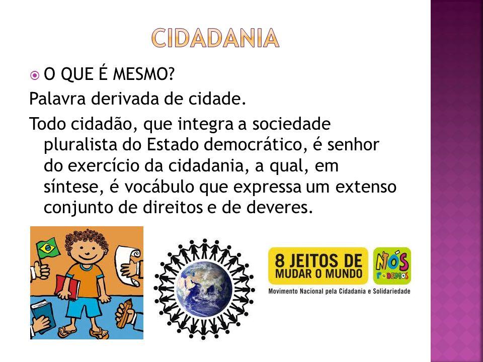 cIDADANIA O QUE É MESMO Palavra derivada de cidade.