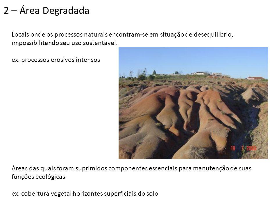 2 – Área Degradada Locais onde os processos naturais encontram-se em situação de desequilíbrio, impossibilitando seu uso sustentável.