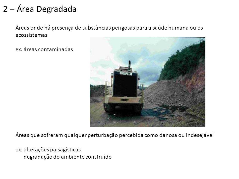 2 – Área Degradada Áreas onde há presença de substâncias perigosas para a saúde humana ou os ecossistemas.