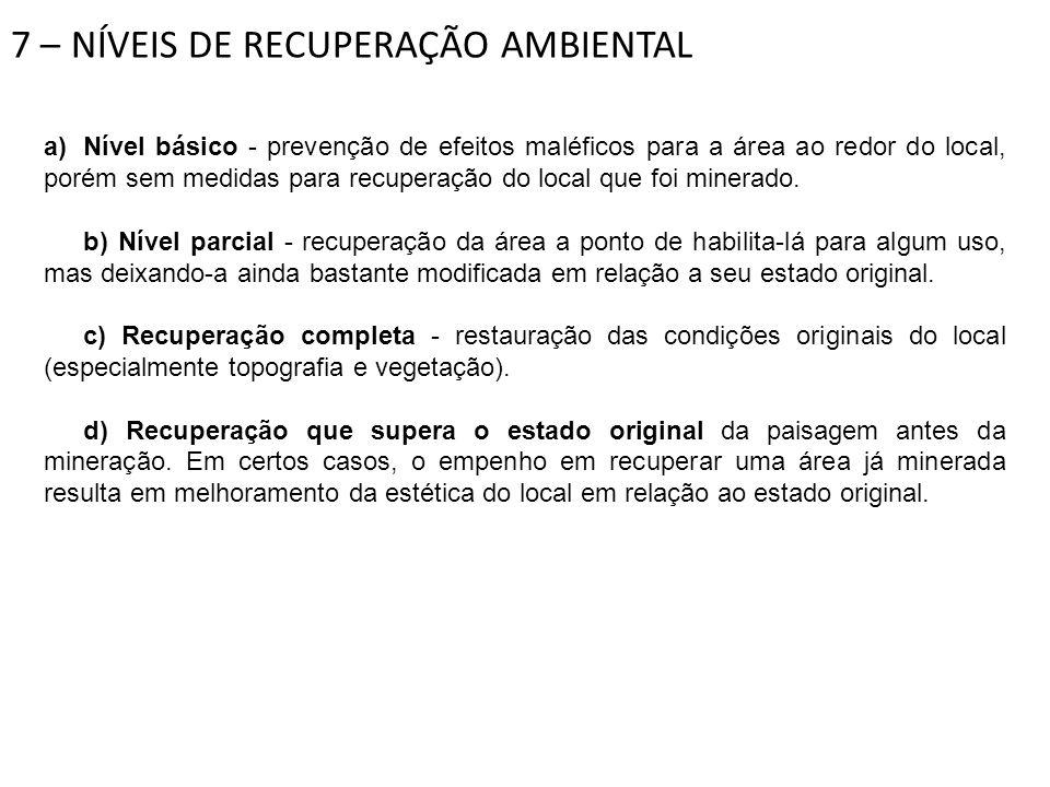 7 – NÍVEIS DE RECUPERAÇÃO AMBIENTAL