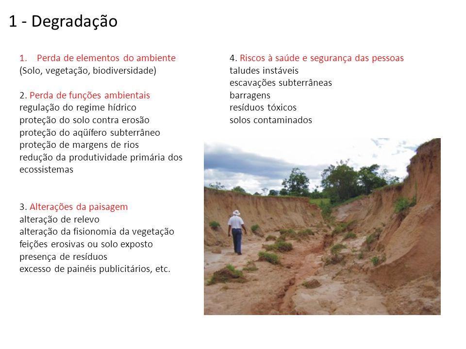 1 - Degradação Perda de elementos do ambiente