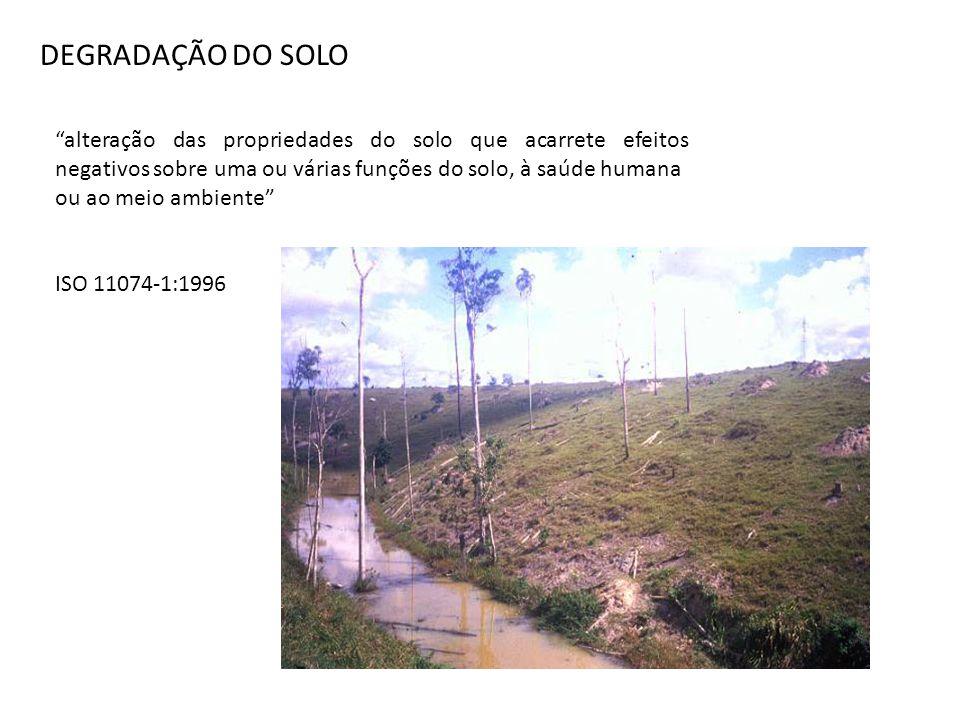 DEGRADAÇÃO DO SOLO alteração das propriedades do solo que acarrete efeitos negativos sobre uma ou várias funções do solo, à saúde humana.