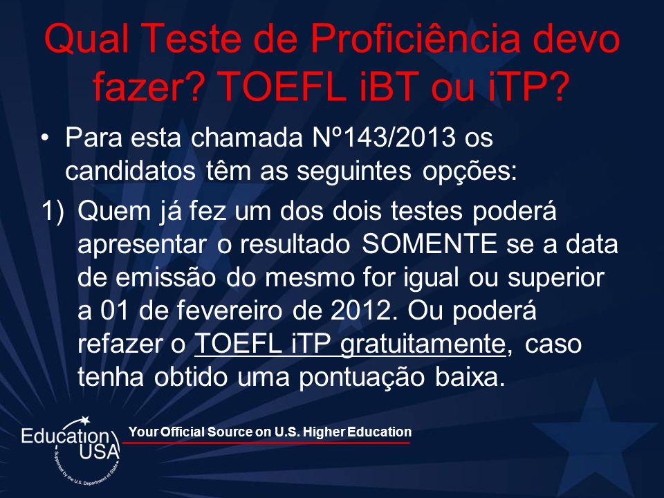 Qual Teste de Proficiência devo fazer TOEFL iBT ou iTP