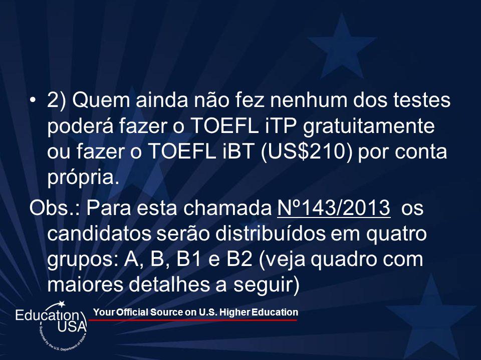 2) Quem ainda não fez nenhum dos testes poderá fazer o TOEFL iTP gratuitamente ou fazer o TOEFL iBT (US$210) por conta própria.