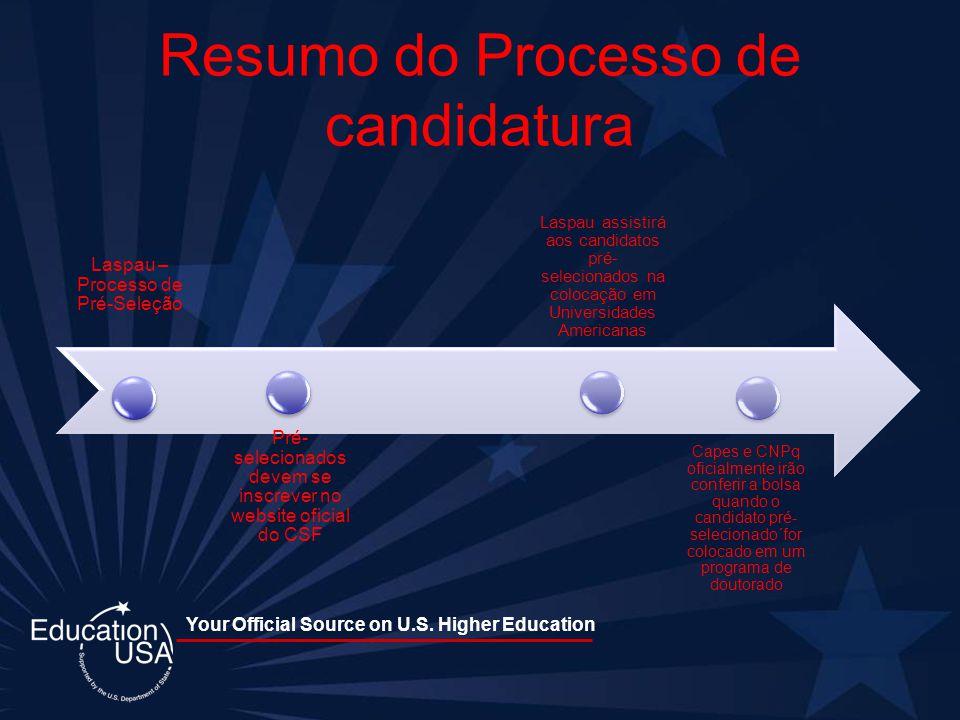 Resumo do Processo de candidatura