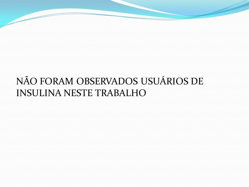 NÃO FORAM OBSERVADOS USUÁRIOS DE INSULINA NESTE TRABALHO