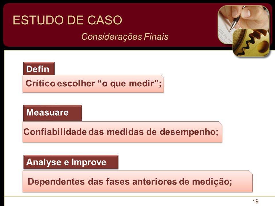 ESTUDO DE CASO Considerações Finais Define