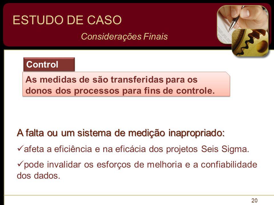 ESTUDO DE CASO A falta ou um sistema de medição inapropriado: