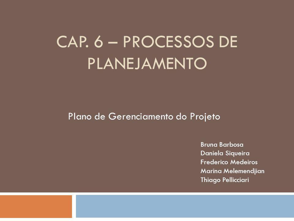 Cap. 6 – PROCESSOS DE PLANEJAMENTO