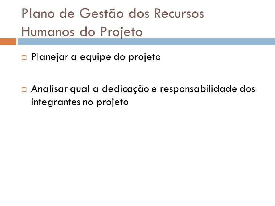 Plano de Gestão dos Recursos Humanos do Projeto