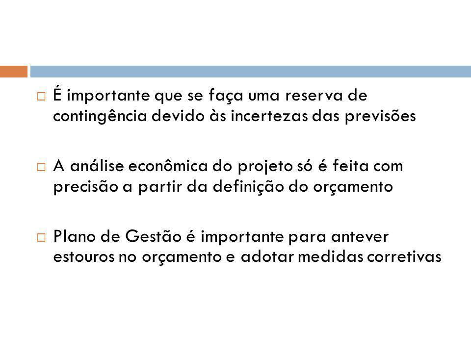 É importante que se faça uma reserva de contingência devido às incertezas das previsões