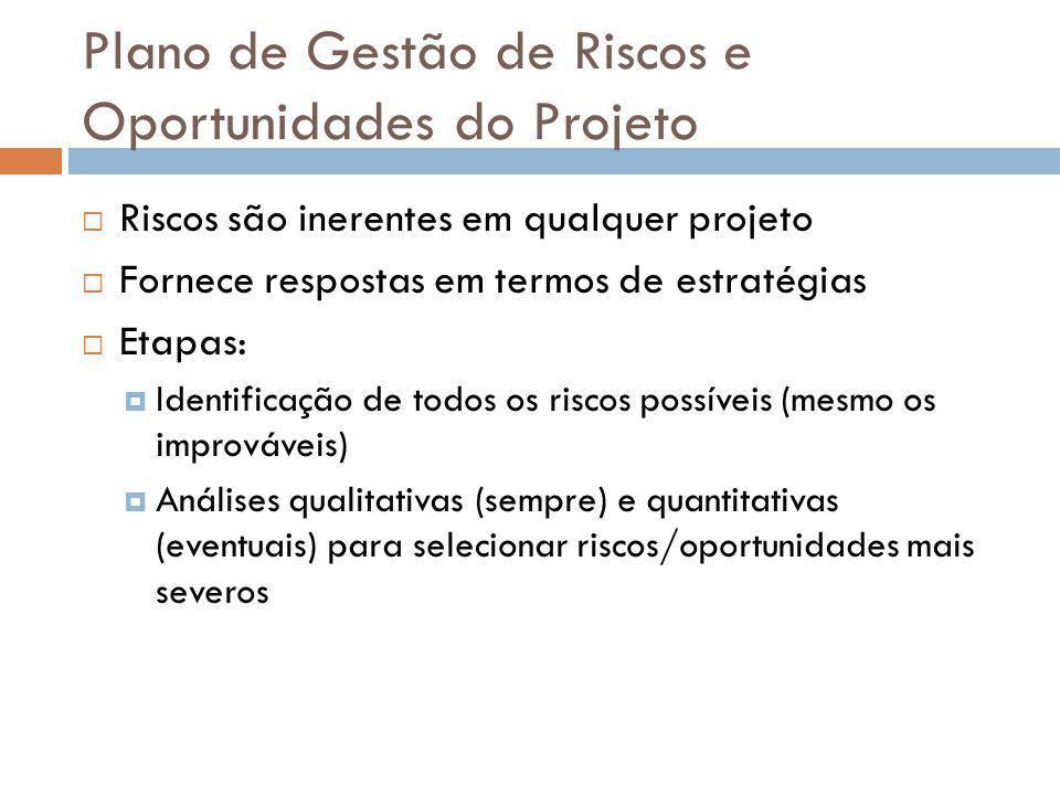 Plano de Gestão de Riscos e Oportunidades do Projeto