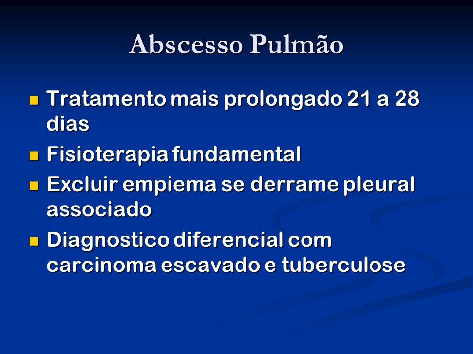 Abscesso Pulmão Tratamento mais prolongado 21 a 28 dias