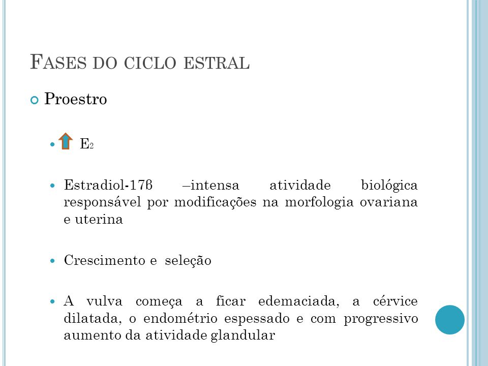 Fases do ciclo estral Proestro E2