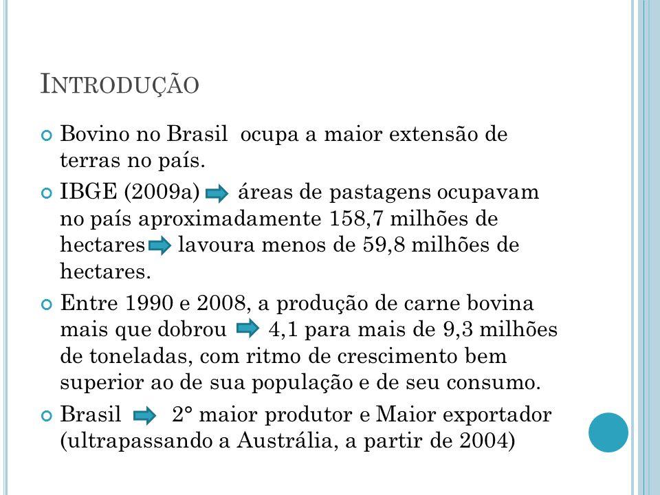Introdução Bovino no Brasil ocupa a maior extensão de terras no país.