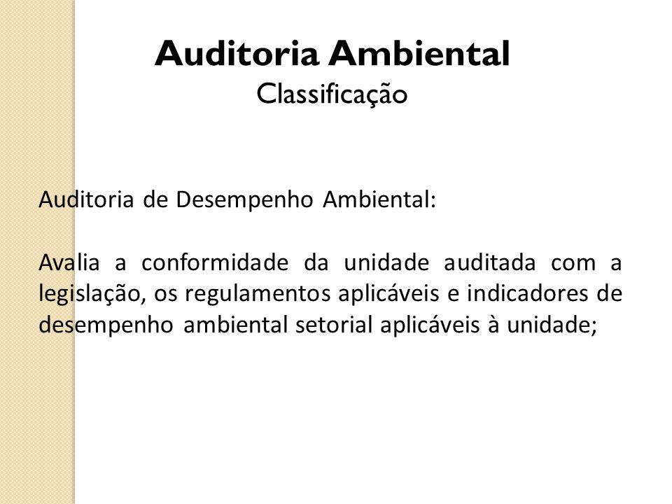 Auditoria Ambiental Classificação Auditoria de Desempenho Ambiental: