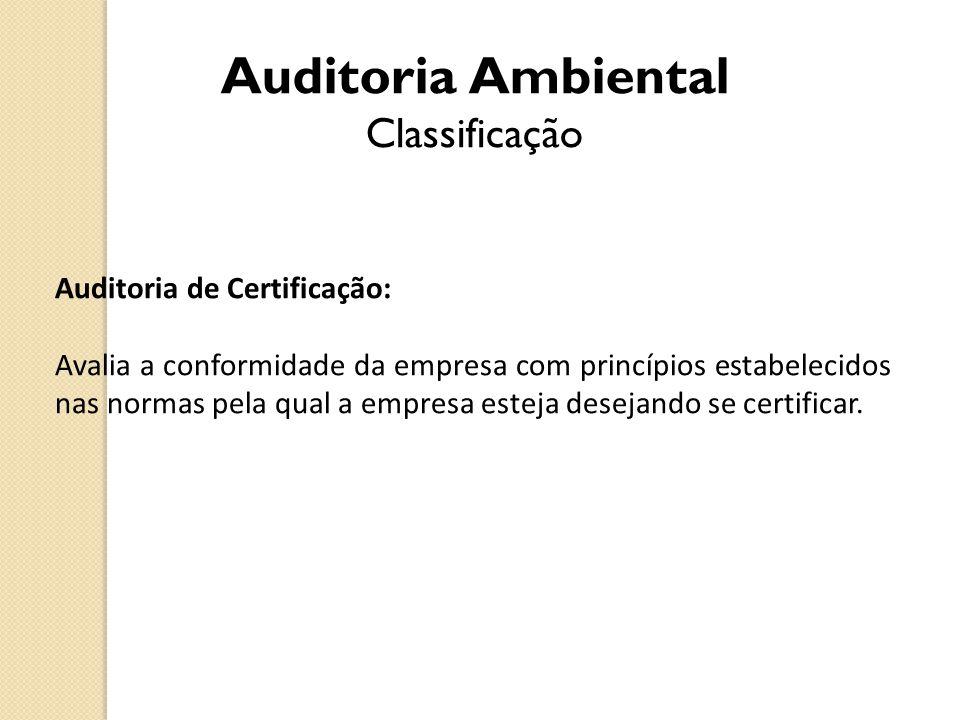 Auditoria Ambiental Classificação Auditoria de Certificação: