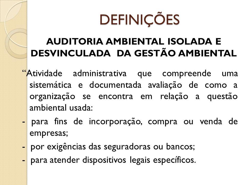 AUDITORIA AMBIENTAL ISOLADA E DESVINCULADA DA GESTÃO AMBIENTAL