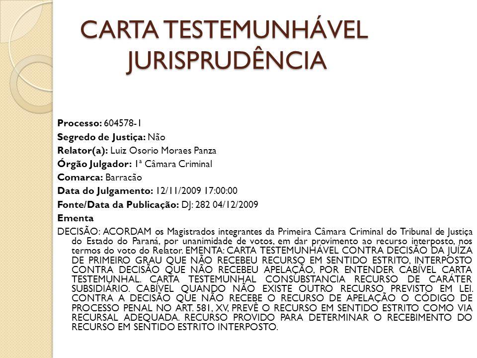 CARTA TESTEMUNHÁVEL jurisprudência