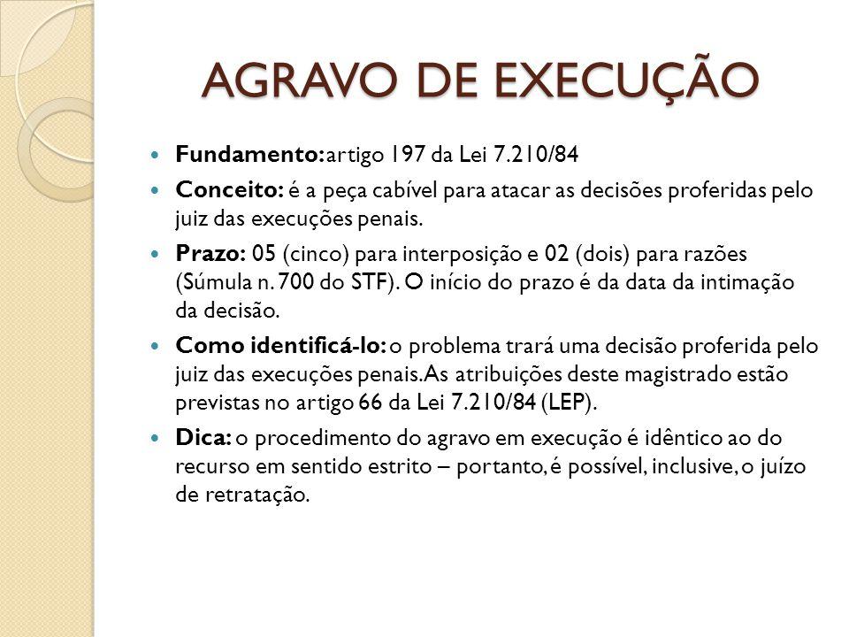 AGRAVO DE EXECUÇÃO Fundamento: artigo 197 da Lei 7.210/84